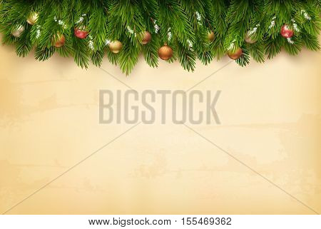 Decorated Christmas tree branches on a old paper background. Vector.