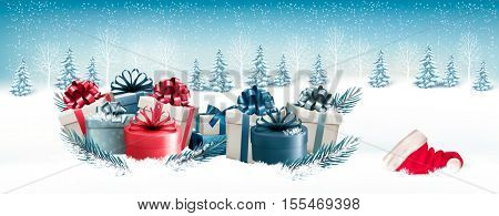Snowy Christmas banner with lots of presents and a santa hat. Vector.