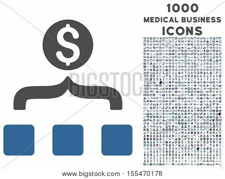 Money Aggregator vector bicolor icon with 1000 medical business icons. Set style is flat pictograms, cobalt and gray colors, white background.