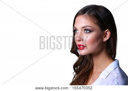 Portrait of beautiful young woman face. Isolated on white background