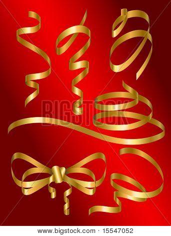 set of gold holiday ribbon. Vector illustration
