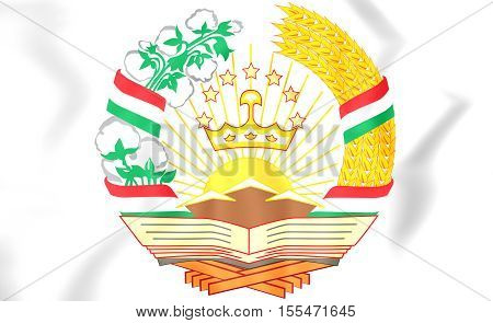 Tajikistan Coat of Arms. 3D Illustration. Close Up.