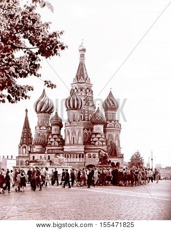 Moscow Russia - July 1962: Saint Basil Cathedral.