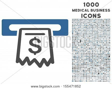 Receipt Terminal vector bicolor icon with 1000 medical business icons. Set style is flat pictograms, cobalt and gray colors, white background.
