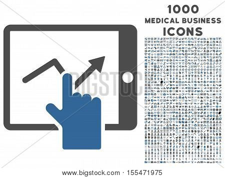 Tap Trend on Pda vector bicolor icon with 1000 medical business icons. Set style is flat pictograms, cobalt and gray colors, white background.