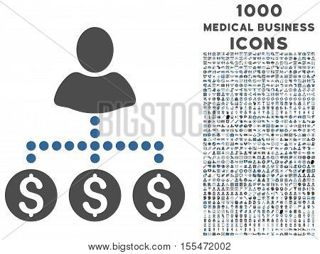 User Payments vector bicolor icon with 1000 medical business icons. Set style is flat pictograms, cobalt and gray colors, white background.