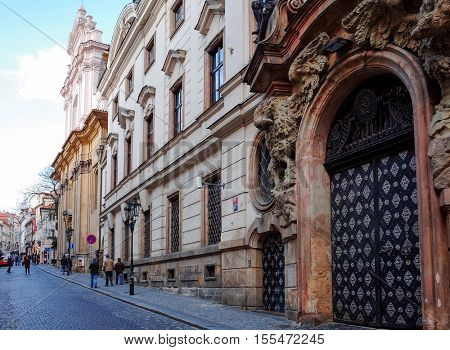 PRAGUE, CZECH REPUBLIC - DEC 23, 2014 : Beautiful street view of Traditional old buildings in Prague, Czech Republic. DEC 23, 2014 in PRAGUE