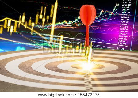 Target dart with target arrows on the stock market background, target financial stock market data. Candle stick graph of stock market ,target stock market data on LED concept, target stock market background ,target stock market analysis