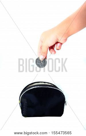 Financial Education Concept With Child Hands Putting Coins Isolated On White Background