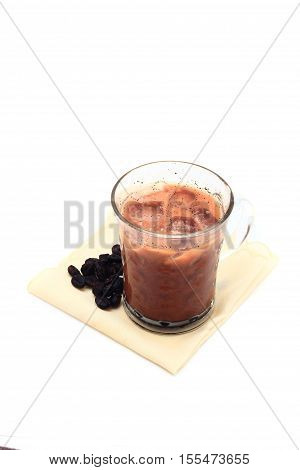 Iced Coffee With Beans On Handkerchief Isolated On White Background