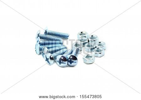 nuts and bolts isolated on white background