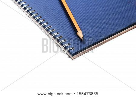 Blue Book Diary And Pencil Isolate On White Background