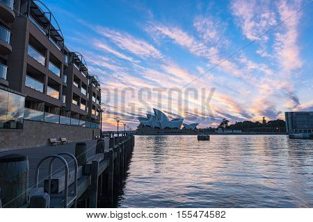 Sydney Opera House at sunrise in Sydney Australia.NOV 08,2016 The Sydney Opera House is a famous arts center.Over 10 millions tourists visit Sydney a year.