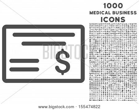 Dollar Cheque vector icon with 1000 medical business icons. Set style is flat pictograms, gray color, white background.