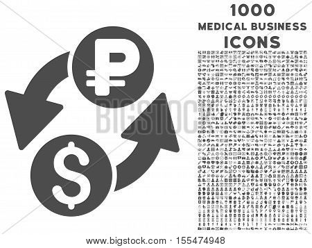Dollar Rouble Exchange vector icon with 1000 medical business icons. Set style is flat pictograms, gray color, white background.