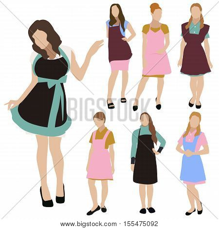 Collection of seven young women silhouettes, dressed in informal homy style. Housewife dress, apron, different poses. Flat style vector image.