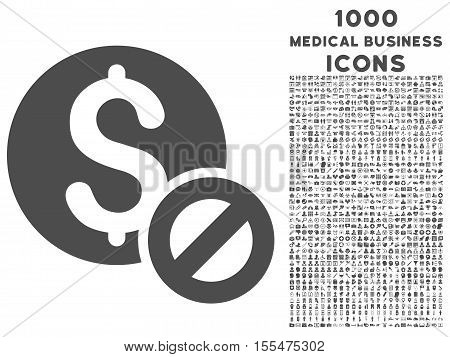 Free of Charge vector icon with 1000 medical business icons. Set style is flat pictograms, gray color, white background.
