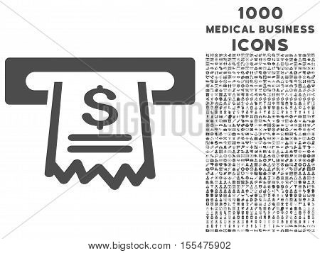 Paper Receipt Machine vector icon with 1000 medical business icons. Set style is flat pictograms, gray color, white background.