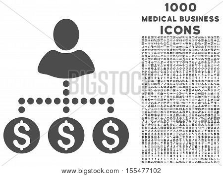 User Payments vector icon with 1000 medical business icons. Set style is flat pictograms, gray color, white background.