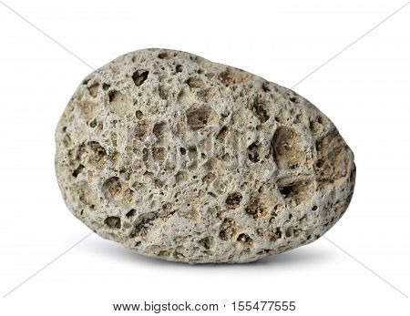 Pebble from gray pumice natural volcanic stone isolated on white background