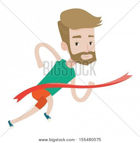 Cheerful winner crossing finish line. Young caucasian smiling winner winning marathon. A hipster winner with the beard breaking the tape. Vector flat design illustration isolated on white background.