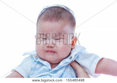 Closeup Asian Baby Crying. Sad Baby Girl On White Background.