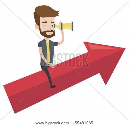 Young businessman searching for opportunities. Businessman using spyglass for searching of opportunities. Business opportunities concept. Vector flat design illustration isolated on white background.