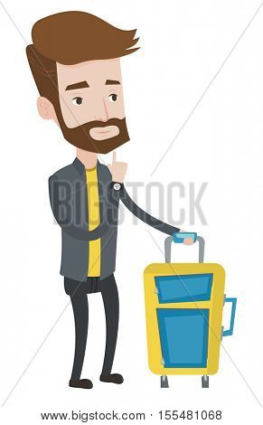 Young caucasian passenger with suitcase. A hipster passenger with the beard standing with suitcase. Thoughtful passenger with suitcase. Vector flat design illustration isolated on white background.