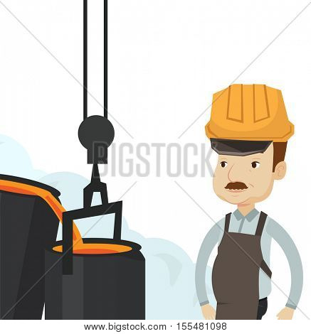 Caucasian steelworker at work in the foundry. Steelworker controlling iron smelting in the foundry. Steelworker in steel making plant. Vector flat design illustration isolated on white background.
