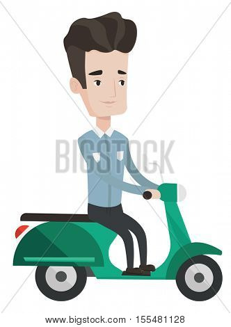 Young caucasian man riding a scooter. Smiling man driving a scooter. Happy man enjoying his trip on a scooter. Man traveling on a scooter. Vector flat design illustration isolated on white background.