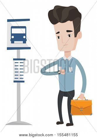 Caucasian businessman with briefcase waiting for a bus at the bus stop. Man standing at bus stop. Man looking at his watch at bus stop. Vector flat design illustration isolated on white background.
