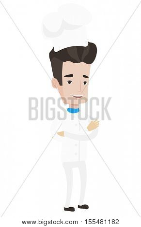 Chief cooker in uniform and hat standing with arms crossed. Young caucasian chef. Confident chief cooker. Full length of cheerful chef. Vector flat design illustration isolated on white background.