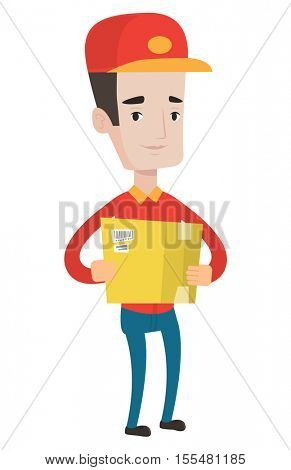 Young delivery man holding cardboard box. Caucasian delivery man carrying cardboard box. Smiling delivery man with a box in his hands. Vector flat design illustration isolated on white background.
