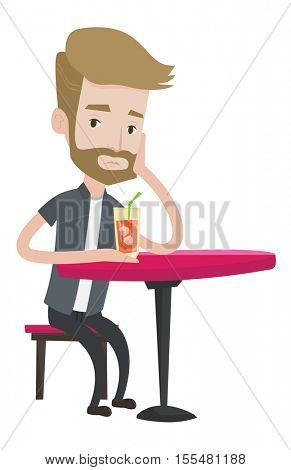 A hipster upset man with the beard sitting at the bar with cocktail. Caucasian sad man sitting alone at the bar and drinking cocktail. Vector flat design illustration isolated on white background.