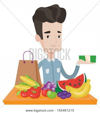 Caucasian shopper standing at the table with grocery purchases. Shopper holding money in hand in front of table with grocery purchases. Vector flat design illustration isolated on white background.