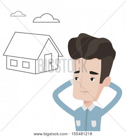 Young caucasian man dreaming about buying a new house. Man planning his future buy of new house. Man thinking about buying a house. Vector flat design illustration isolated on white background.