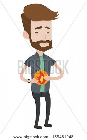 Hipster man with beard suffering from heartburn. Caucasian man having stomach ache from heartburn. Man having stomach ache after fast food. Vector flat design illustration isolated on white background