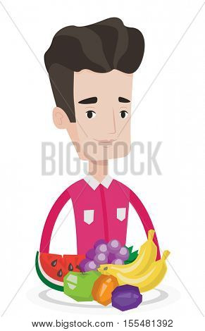 Young man standing in front of table full of fresh fruits. Caucasian man with plate full of fruits. Man eating fresh healthy fruits. Vector flat design illustration isolated on white background.