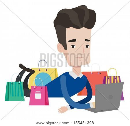 Caucasian man lying on the floor and using laptop for online shopping. Happy man making online shopping order. Man doing online shopping. Vector flat design illustration isolated on white background.