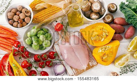 Balanced Diet Food Concept. Fruits, Vegetables And Chicken Breast On A Wooden Table. Top View