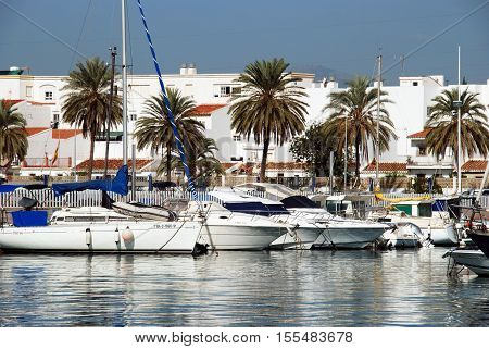 CALETA DE VELEZ, SPAIN - OCTOBER 27, 2008 - View of yachts moored in the harbour Caleta de Velez Malaga Province Andalusia Spain Western Europe, October 27, 2008.