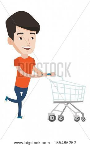 Man rushing to shopping with trolley. Man with empty shopping trolley running into the shop. Young caucasian man pushing shopping trolley. Vector flat design illustration isolated on white background.