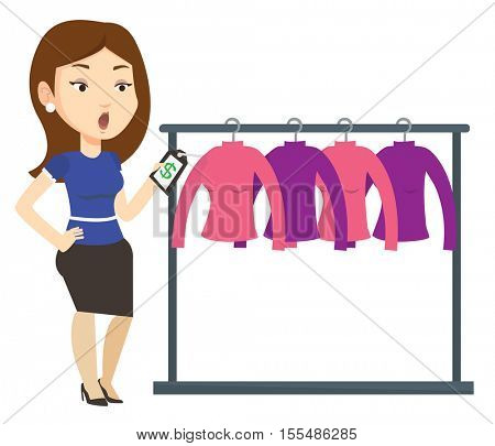 Woman shocked by price tag in clothing store. Surprized woman looking at price tag in clothing store. Amazed woman staring at price tag. Vector flat design illustration isolated on white background.