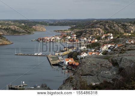 Fjallbacka, Bohuslan, Sweden - 09-16-2016, View over the village Fjallbacka, Bohuslan, Sweden seen from the kungsklyftan