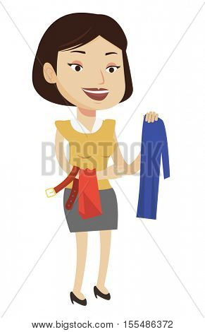 Happy female customer buying clothes at store. Caucasian woman choosing clothes in shop. Young cheerful woman shopping in clothing shop. Vector flat design illustration isolated on white background.