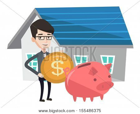 Young caucasian house owner putting dollar coin in piggy bank on the background of house. Cheerful man investing money in real estate. Vector flat design illustration isolated on white background.