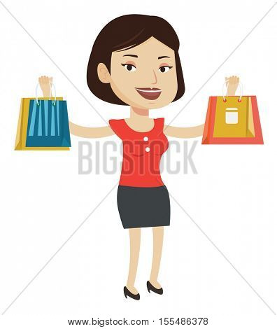 Woman holding shopping bags with purchases. Happy caucasian woman carrying shopping bags. Woman standing with a lot of shopping bags. Vector flat design illustration isolated on white background.
