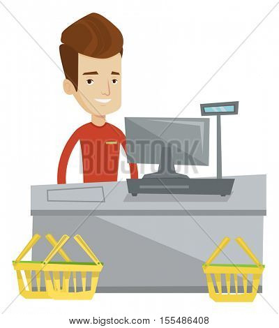 Young cashier standing at the checkout in supermarket. Male happy cashier working at checkout in a supermarket. Caucasian cashier at work. Vector flat design illustration isolated on white background.