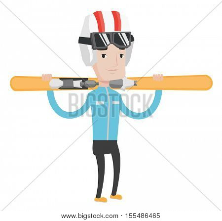 Smiling caucasian man carrying skis. Sportsman standing with skis on his shoulders. Young sportsman skiing. Skier resting in ski resort. Vector flat design illustration isolated on white background.