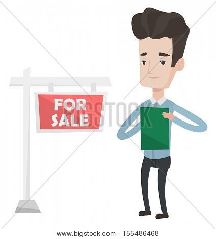 Real estate agent signing home purchase contract in front of for sale real estate sign. Caucasian real estate agent selling a house. Vector flat design illustration isolated on white background.